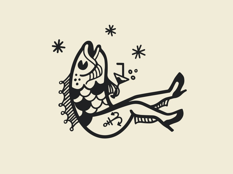 Reverse Mermaid fish mermaid design vector black and white logodesign logo illustration graphic