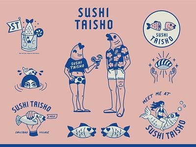 Sushi Taisho cute cheeky sushijoint california fish sushi design vector logo branding illustration graphic