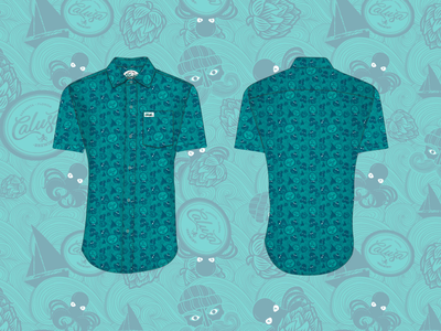 Pattern and button up design for Calusa Brewing