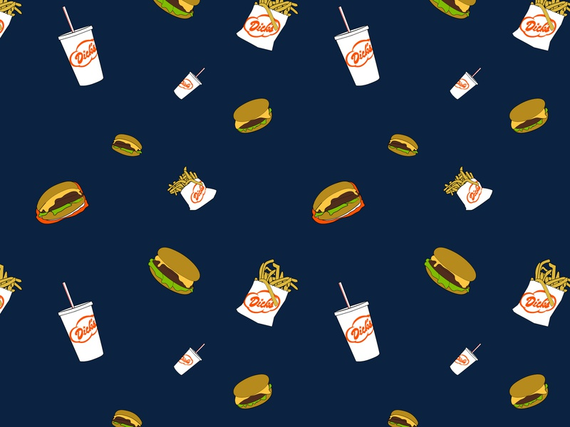 Dick s Drive-In Pattern 2 burger pattern vector pnw illustration