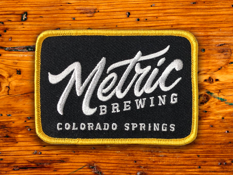 Metric Brewing Patch graphic design logodesign logotype colorado springs colorado brewery embroidered patch patch apparel vector branding logo typography