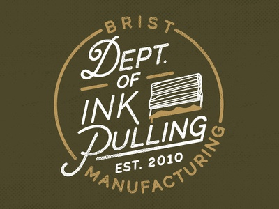 Brist Mfg. Department of Ink Pulling shirt design branding illustration design screenprint logo typography brist mfg brist bellingham washington pnw ink distressed print apparel screen print