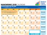 1101 Nanowrimo Calendar for Nashua Public Library