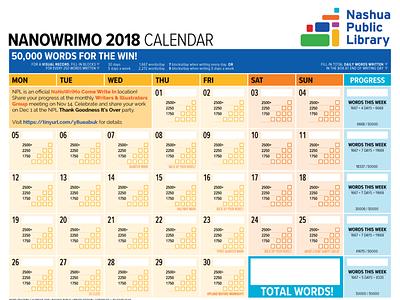 1101 Nanowrimo Calendar for Nashua Public Library nanowrimo calendar