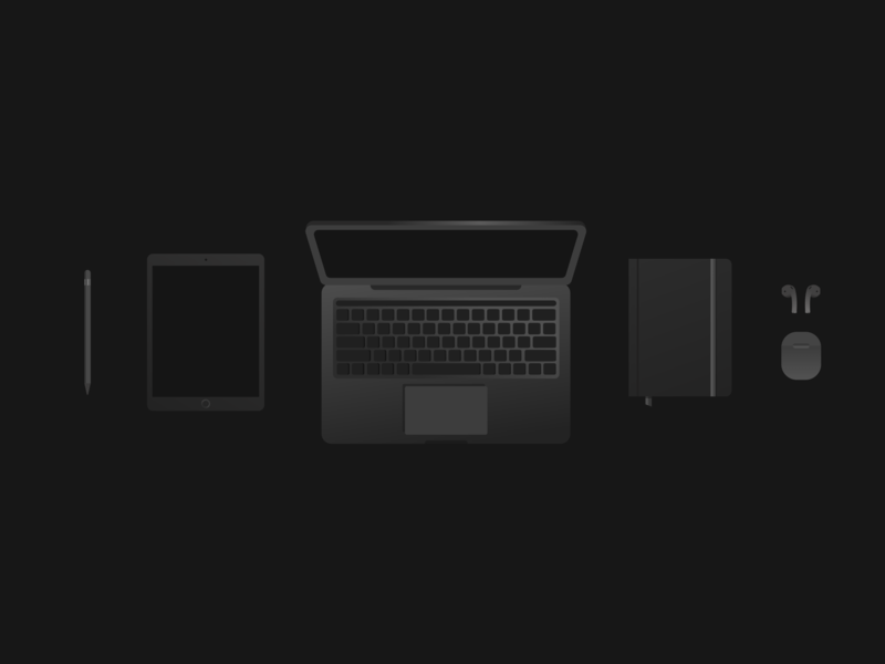 Space Gray everything ui tools black flat apple design design 100day workspace apple illustration vector art vector 100dayproject
