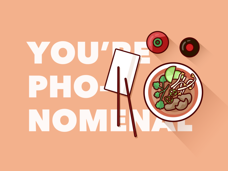 Day 7: You're Pho-nomenal pun thank you greetings noodles food pho art vector art vector 100dayproject illustration design 100day