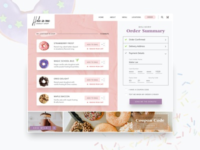 Hole in One Donut Shop: Checkout Page website design donutshop form checkout page donuts ui