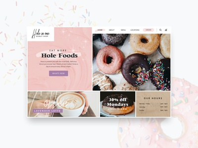Hole in One: Donut Shop yummy donutshop concpet food homepage websites donuts ui