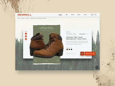 Merrell Shoes Concept: Add to Cart website ui boots adventure checkout pricing merrell addtocart