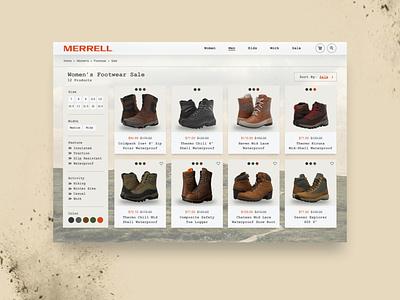 Merrell Shoe Concept: Shop website design website checkout buy shoes boots uxui ui