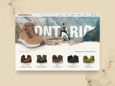 Merrell Shoe Concept: Home Page inspiration uiux merrell hiking boots shoes homepage