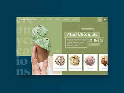 Creamy Creations - Mint website uiux icecream website concept website design uiuxdesign ui