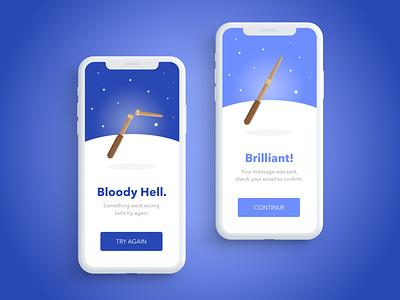 Harry Potter Wand  |  UI Alerts mobile ui mobile wizards alerts wizardapril uxui uiux wand harry ui potter wizard illustration harrypotter