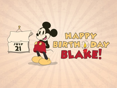 Mickey Mouse - Happy Birthday Card mickey illustration disney birthday birthday card mickeymouse