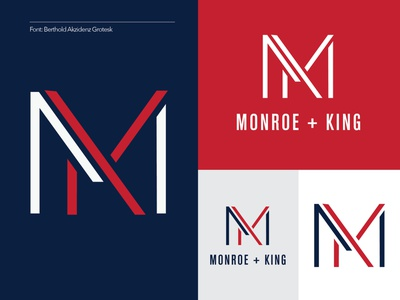 Monroe + King Athletic Co. Branding 3/4 apparel workout king mk combination letter athletic branding logo