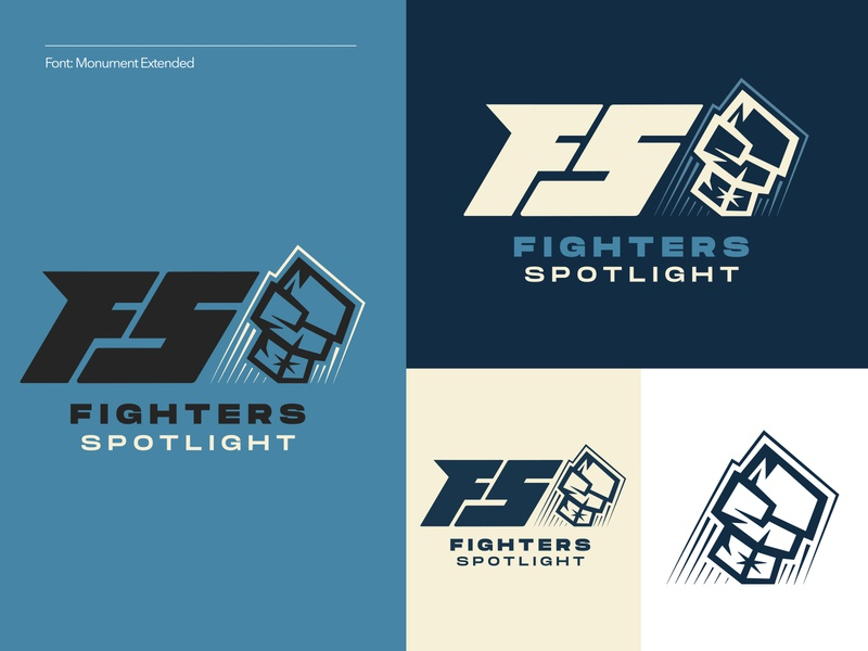 Fighters Spotlight 3 of 3 letter fighters boxing fighting branding logo illustration