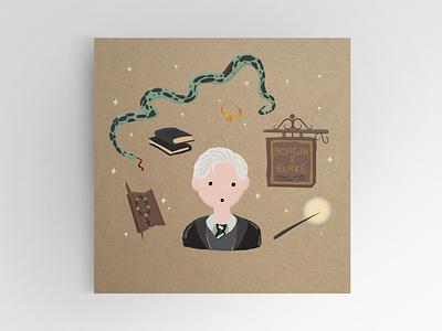 Draco Malfoy draco slytherin wand wizard harry harrypotter potter illustration