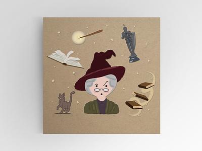 Professor McGonagall professor design wand harry wizard potter harrypotter illustration