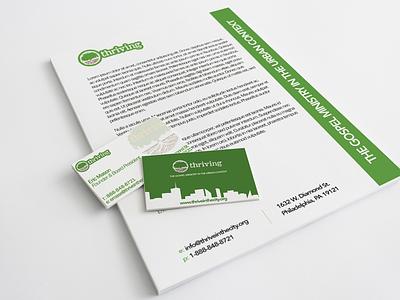 Thriving Print Branding  green thrive branding logo letterhead business cards cards letter