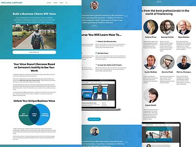 Freelance Jumpstart Landing Page interviews video learning lms online course wordpress gradient business freelancers landing page courses