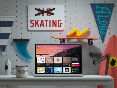 Dann's workspace 3D working space c4d dann petty surf hero image desk skateboard cinema 4d render 3d
