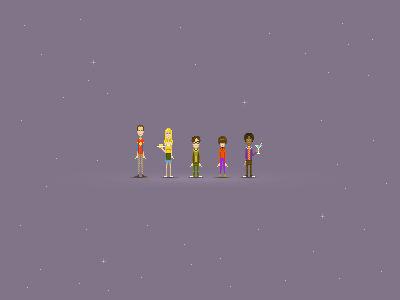 The Big Bang Pixels illustration tbbt sheldon penny leonard howard raj pixel icons