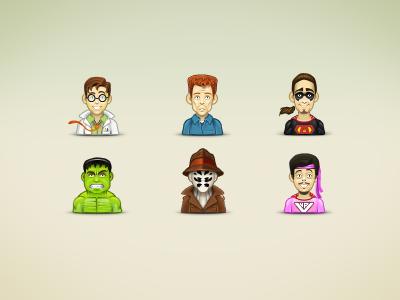 Super Heros illustration icons avatar twitter hulk rorschach mr.vagina captain awesome faces comic superhero
