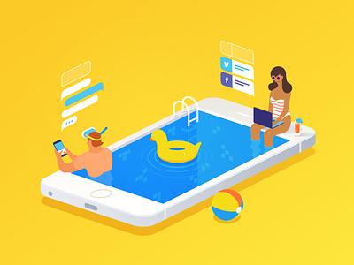 Always Online pool mobile hero summer 3d vector social characters iphone isometric
