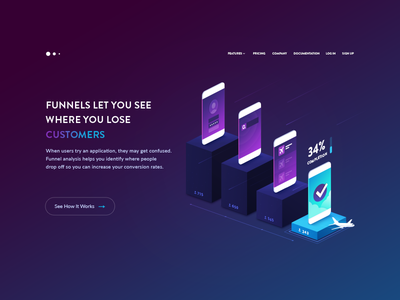 Hero Illustration - Funnels landing page gradients website iso mobile illustration heroimage devices hero vector iphone isometric