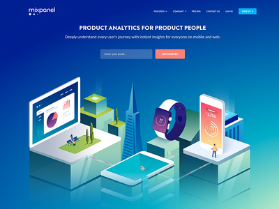 Homepage Illustration futuristic skyline city characters devices analytics marketing vector 3d landingpage heroimage isometric