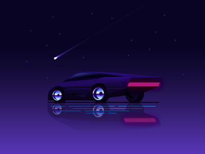 Interceptor  movie futuristic spacecar retro 80s synthwave vector