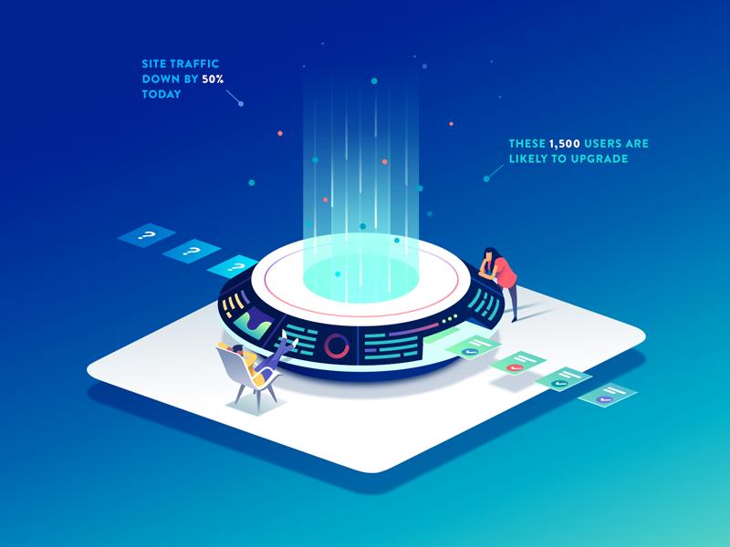 Insights Illustration interfaces machine characters hero image data futuristic isometric landing page