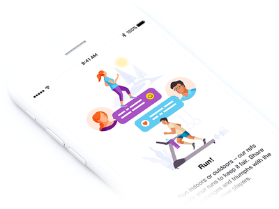Onboarding Illustration appdesign runapp clean characters iphone run illustration onboarding