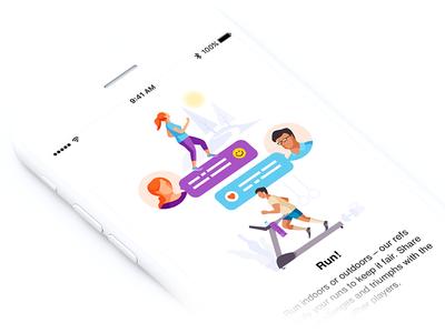 Onboarding Illustration appdesign runapp clean characters iphone run illustration onboarding