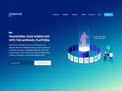 Platform Illustration 3d motion blockchain mixpanel user landingpage hero isometric data