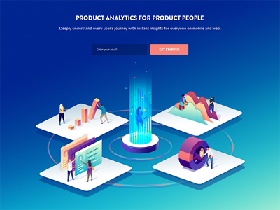 User's Journey Illustration hero image 3d analytics blockchain mixpanel user landingpage hero isometric data