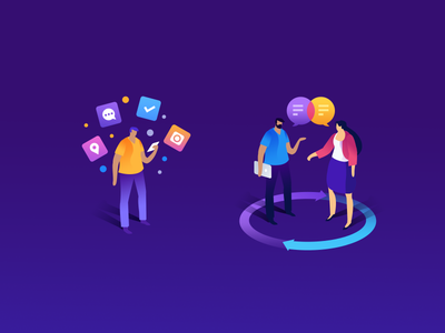 Web Characters apps landing page character design webdesign gradient illustration icon isometric hero image