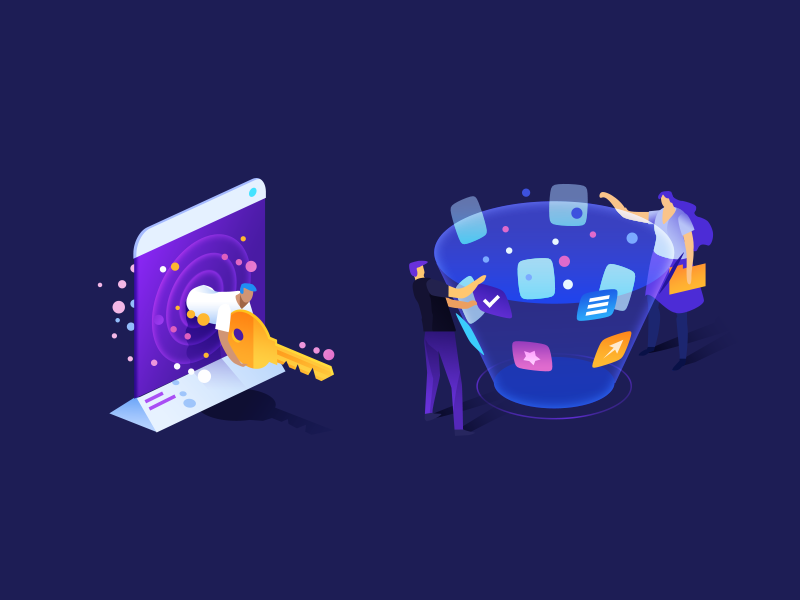 Web Characters 2.0 gradient hero image character design webdesign page landing isometric illustration icon