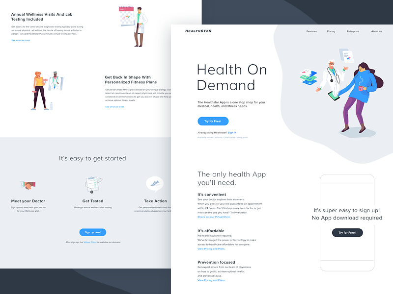 Healthstar Website fitness character design icons medical onepage vector health hero illustration illustration
