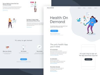 Healthstar Website fitness character design icons medical onepage vector health hero illustration illustration