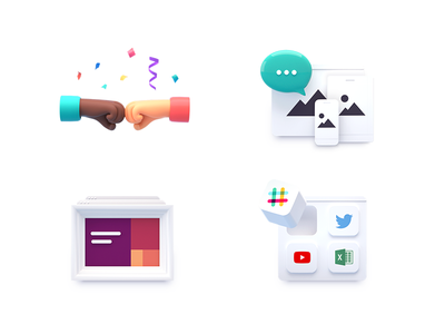 Features Icons team pitch landing page integrations render octane features icons 3d design icon