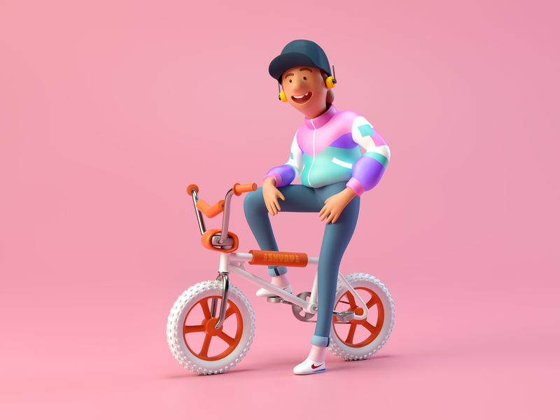 BMX KID hero image octane bike retro c4d 80s characterdesign octanerender render cinema4d 3d