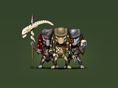 Predators illustration photoshop character design pixel pixelart predator alien whoopigoldberg skull kajdax