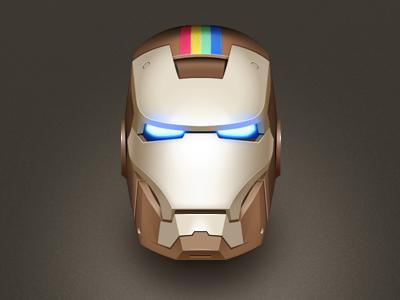 Instarkgram Icon icon illustration instagram comic ironman head character