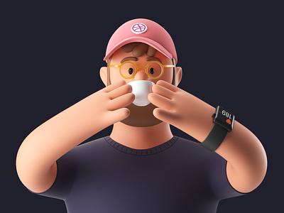Designer 3d art coffee cup illustration persona c4d coffee designer character design character octane render branding 3d