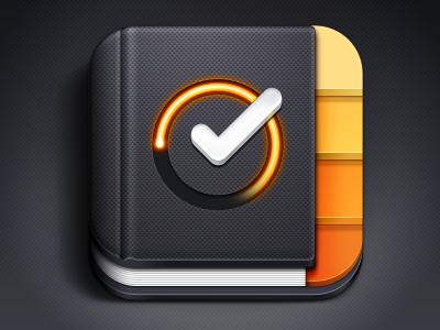 Time Drive iOS Icon ios icon tabs checkmark book notebook glow iphone ipad retina time