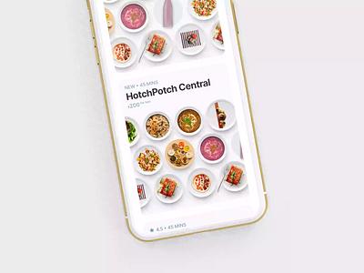 Meals Overview Restaurant Card motion design interface design ui ux clean app mobile interaction design visual design concept digital