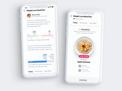 Onboarding & Meal Plan onboarding design minimal clean flat app design visual design mockup ui ux mobile app