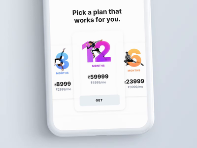 Fitness-focused Pricing Module pricing plans pricing page pricing plan 2d concept minimal interaction design flat clean visual design mobile design ux ui app