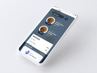 Food Checkout on Dark Bottom Tray concept clean visual design mobile design ux ui app